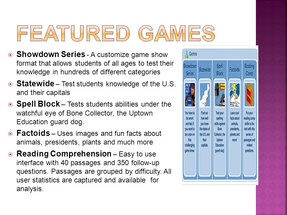 Showdown Series - A customize game show format that allows students of all ages to test their knowledge in hundreds of different categories Statewide