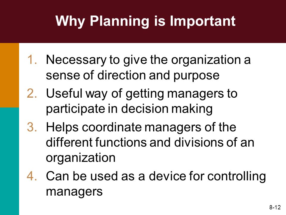 8-12 Why Planning is Important 1.Necessary to give the organization a sense of direction and purpose 2.Useful way of getting managers to participate i