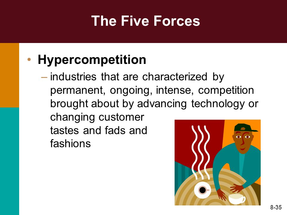 8-35 The Five Forces Hypercompetition –industries that are characterized by permanent, ongoing, intense, competition brought about by advancing techno