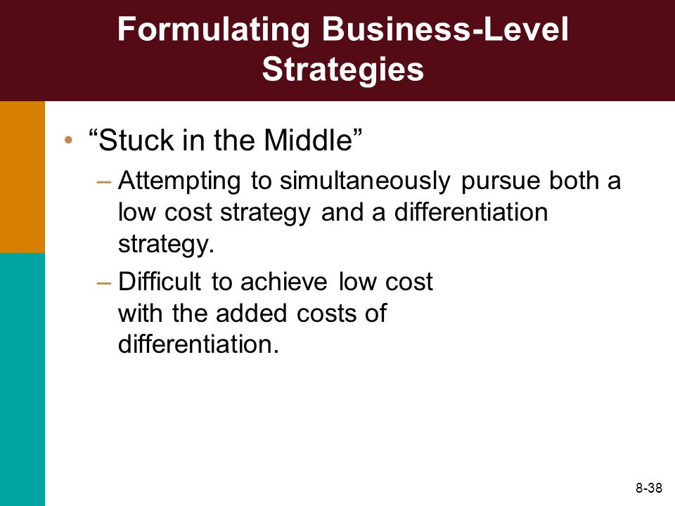 8-38 Formulating Business-Level Strategies Stuck in the Middle –Attempting to simultaneously pursue both a low cost strategy and a differentiation str