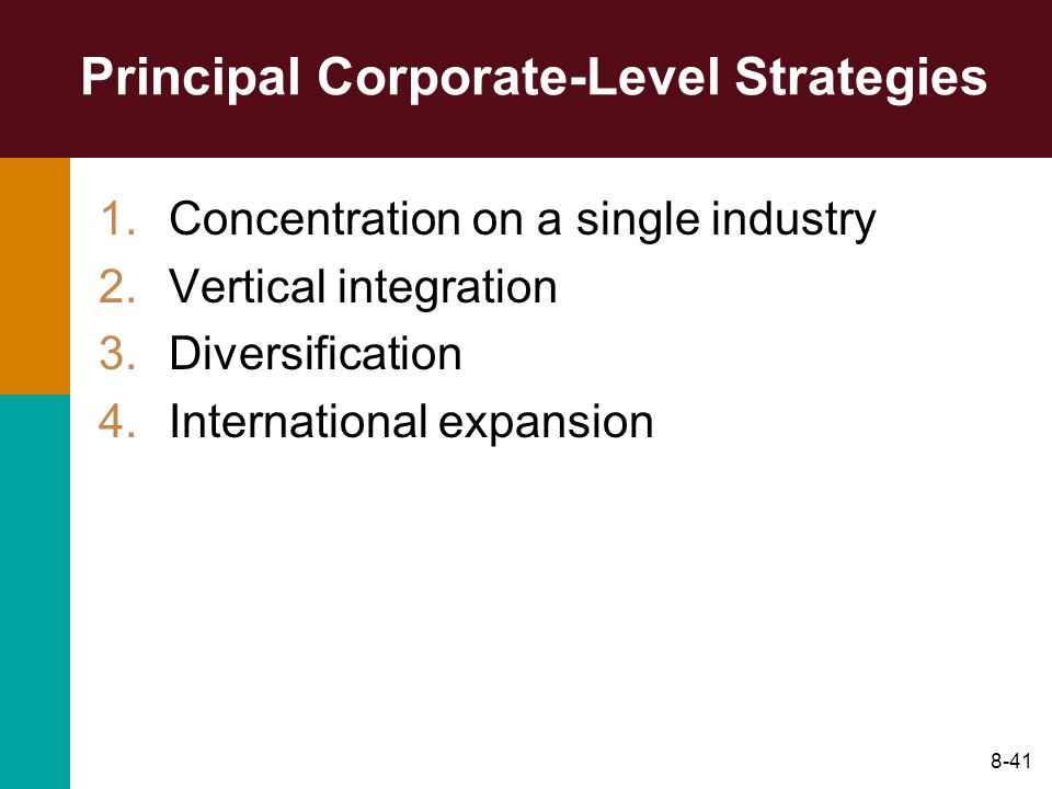 8-41 Principal Corporate-Level Strategies 1.Concentration on a single industry 2.Vertical integration 3.Diversification 4.International expansion
