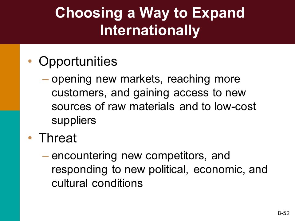 8-52 Choosing a Way to Expand Internationally Opportunities –opening new markets, reaching more customers, and gaining access to new sources of raw ma