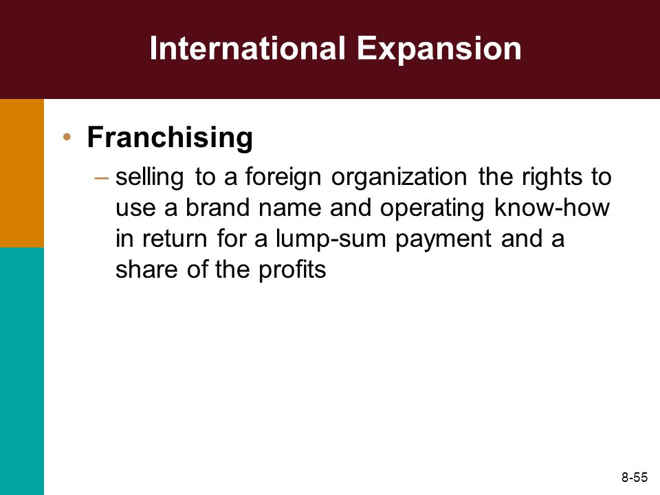 8-55 International Expansion Franchising –selling to a foreign organization the rights to use a brand name and operating know-how in return for a lump