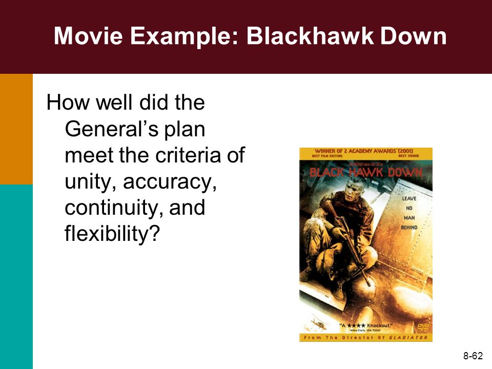 8-62 Movie Example: Blackhawk Down How well did the Generals plan meet the criteria of unity, accuracy, continuity, and flexibility?