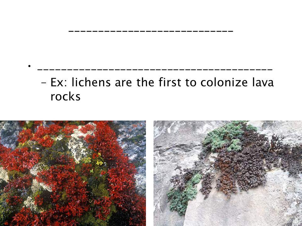 ____________________________ ________________________________________ –Ex: lichens are the first to colonize lava rocks