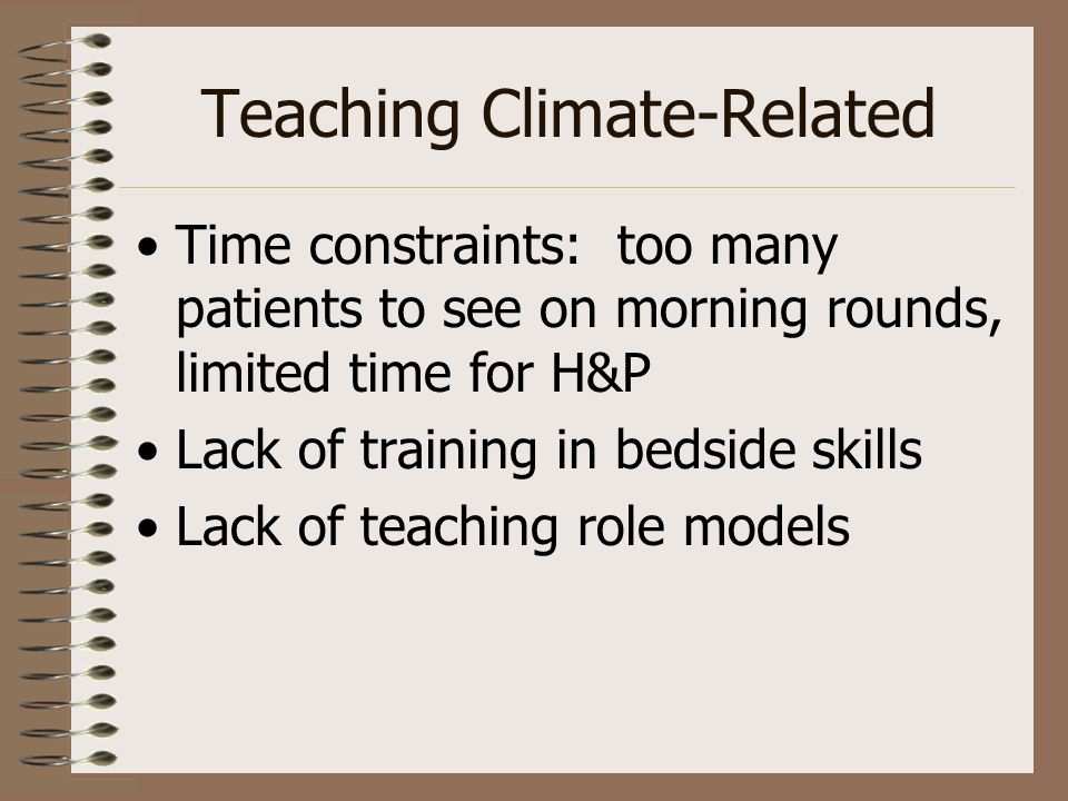 Teaching Climate-Related Time constraints: too many patients to see on morning rounds, limited time for H&P Lack of training in bedside skills Lack of teaching role models