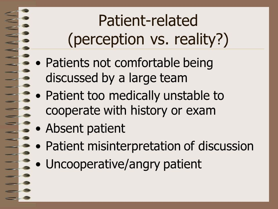 Patient-related (perception vs.