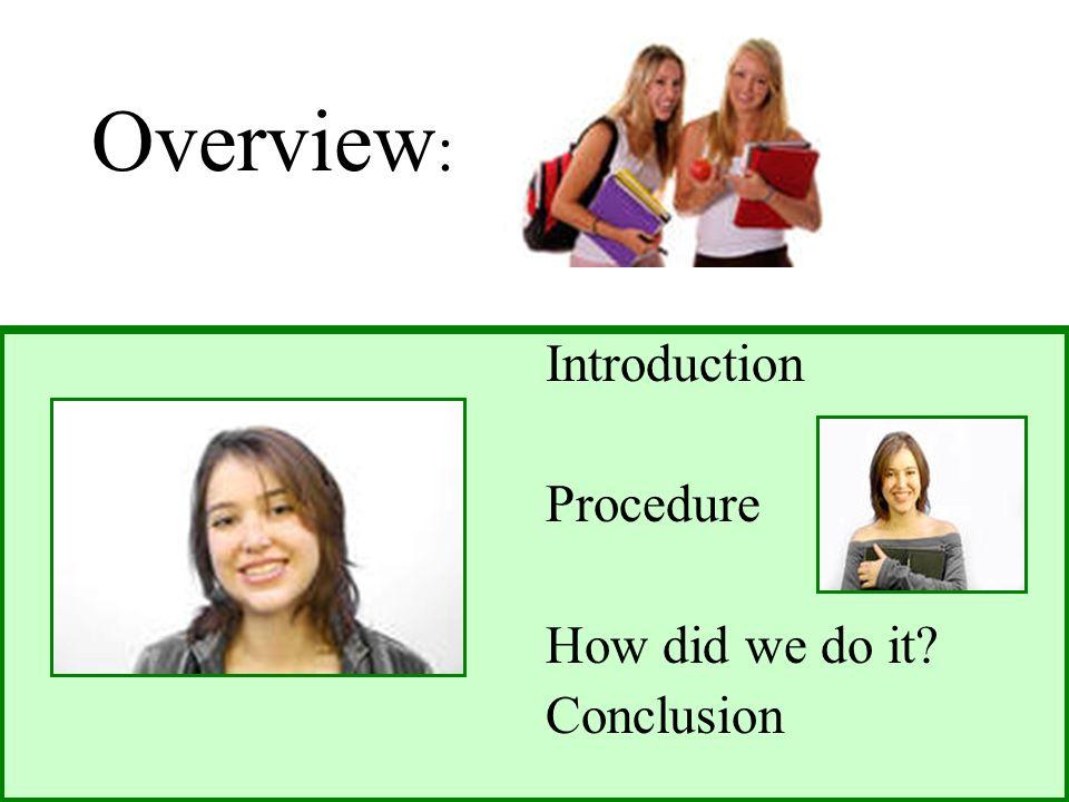Overview : Introduction Procedure How did we do it Conclusion »ConclusionConclusion