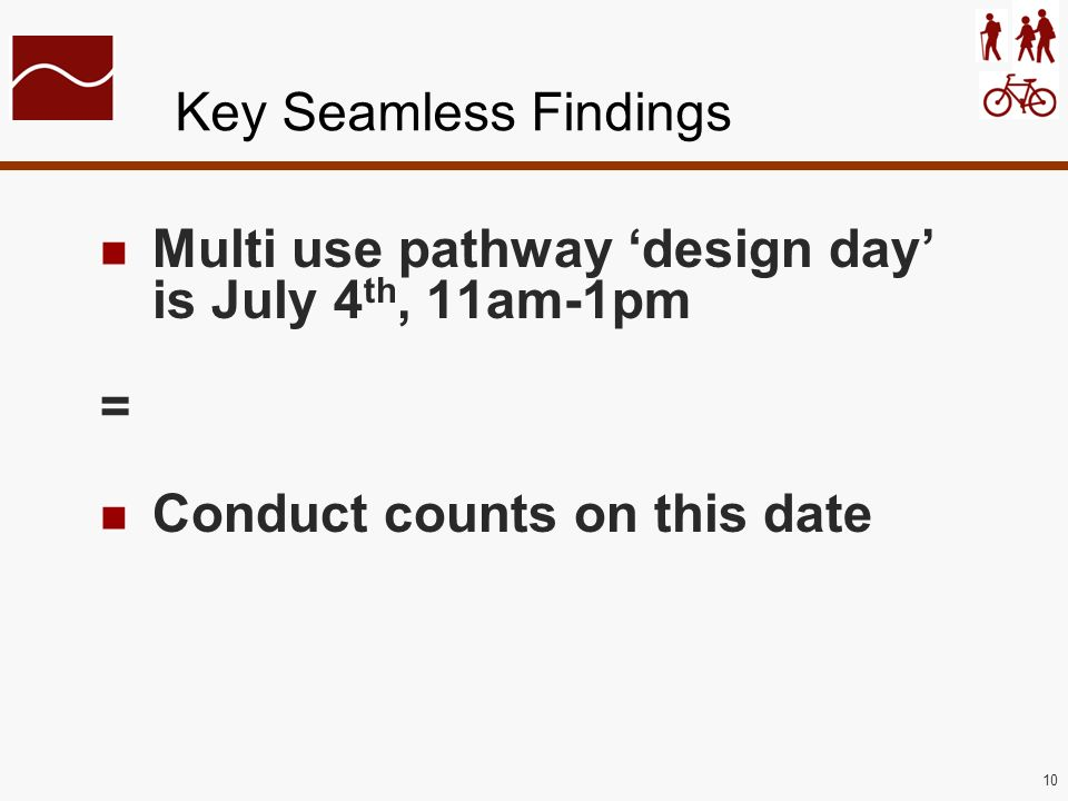 10 Key Seamless Findings Multi use pathway design day is July 4 th, 11am-1pm = Conduct counts on this date