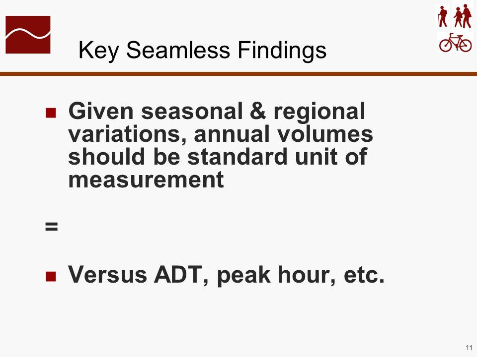 11 Key Seamless Findings Given seasonal & regional variations, annual volumes should be standard unit of measurement = Versus ADT, peak hour, etc.