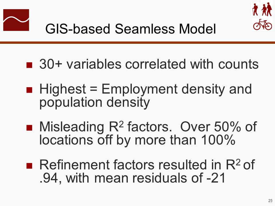 25 GIS-based Seamless Model 30+ variables correlated with counts Highest = Employment density and population density Misleading R 2 factors. Over 50%