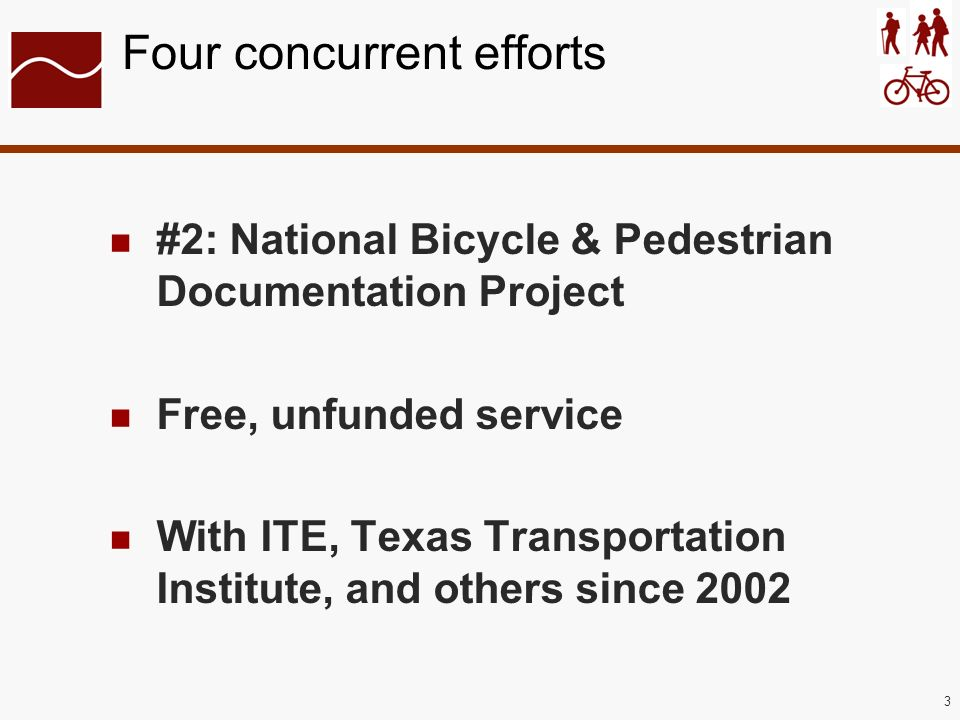 3 Four concurrent efforts #2: National Bicycle & Pedestrian Documentation Project Free, unfunded service With ITE, Texas Transportation Institute, and others since 2002