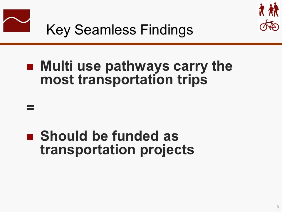 8 Key Seamless Findings Multi use pathways carry the most transportation trips = Should be funded as transportation projects