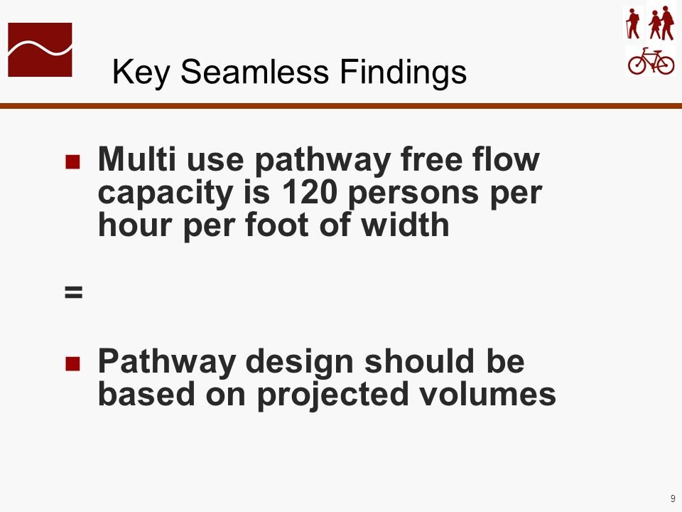 9 Key Seamless Findings Multi use pathway free flow capacity is 120 persons per hour per foot of width = Pathway design should be based on projected v