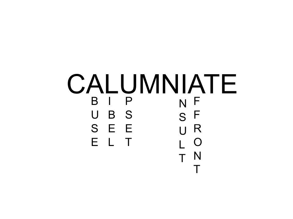 CALUMNIATE BUSEBUSE FFRONTFFRONT IBELIBEL PSETPSET NSULTNSULT