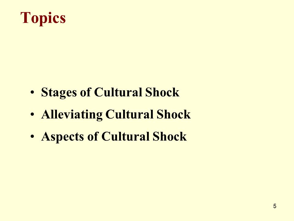 5 Topics Stages of Cultural Shock Alleviating Cultural Shock Aspects of Cultural Shock