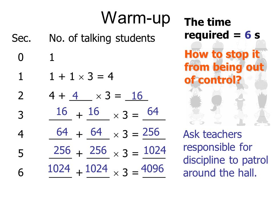 There are 1200 students in a hall. A student starts talking. If each talking student starts 3 others to talk each second,... … what is the minimum tim
