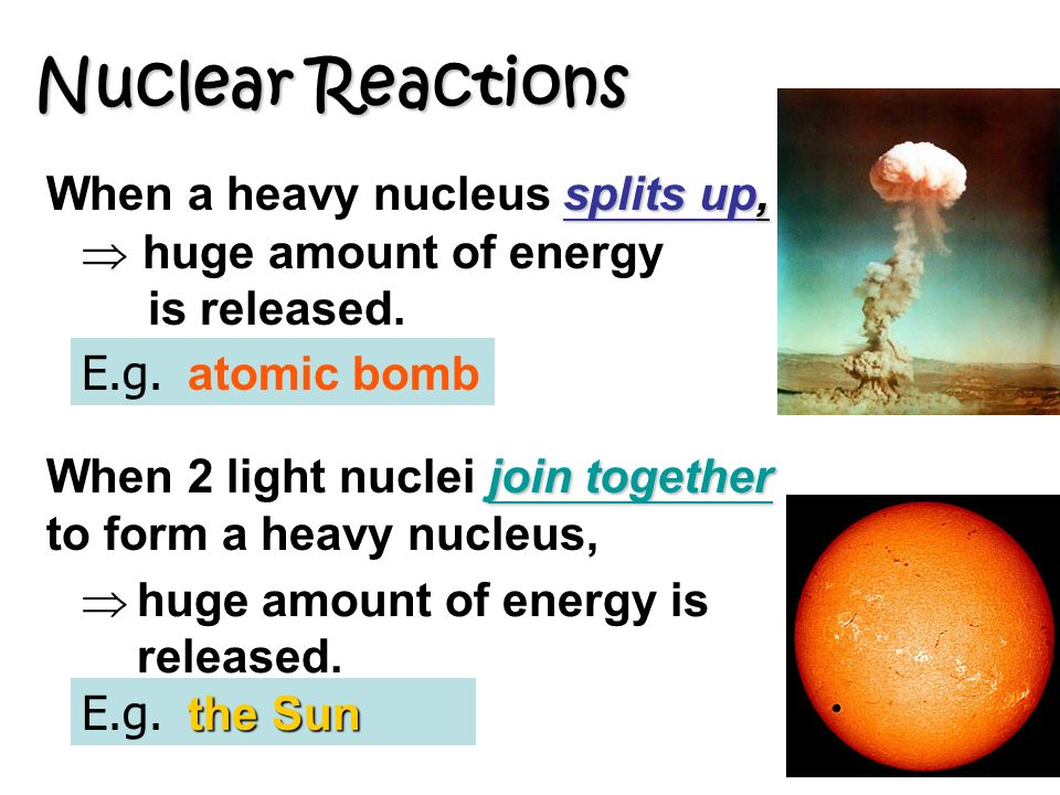 Nuclear Reactions splits up, When a heavy nucleus splits up, join together When 2 light nuclei join together to form a heavy nucleus, huge amount of energy is released.