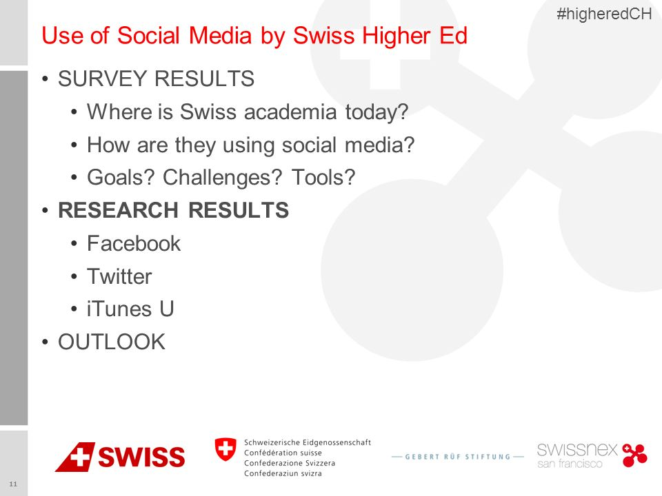 11 #higheredCH Use of Social Media by Swiss Higher Ed SURVEY RESULTS Where is Swiss academia today.