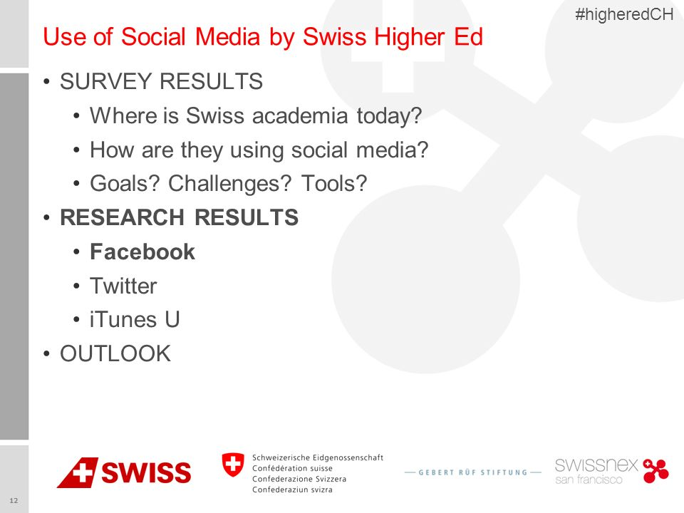 12 #higheredCH Use of Social Media by Swiss Higher Ed SURVEY RESULTS Where is Swiss academia today.