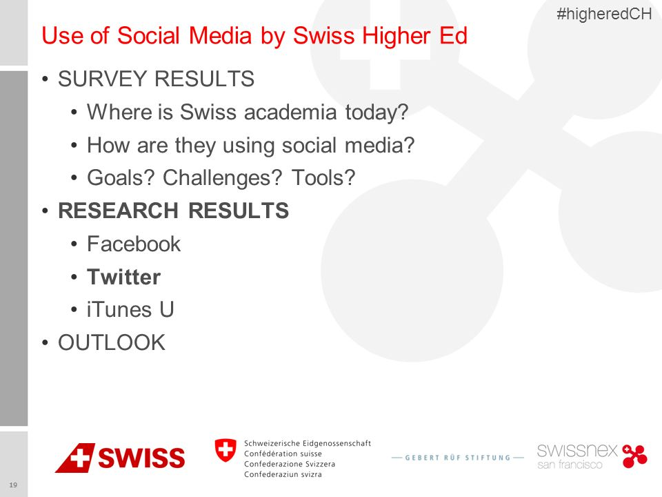 19 #higheredCH Use of Social Media by Swiss Higher Ed SURVEY RESULTS Where is Swiss academia today? How are they using social media? Goals? Challenges