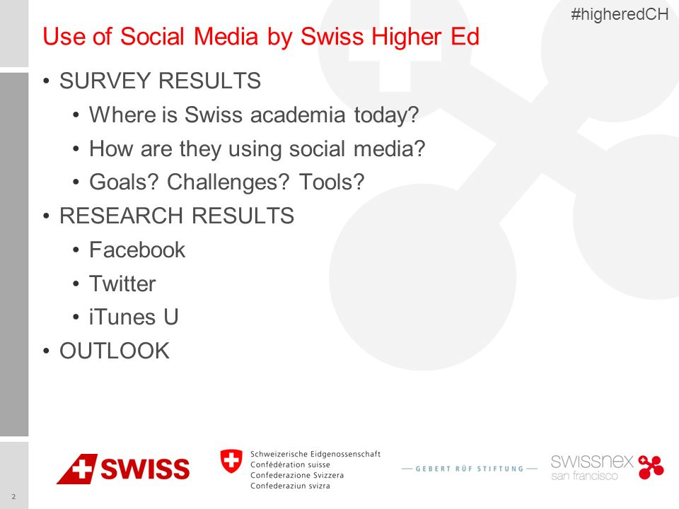 2 #higheredCH Use of Social Media by Swiss Higher Ed SURVEY RESULTS Where is Swiss academia today? How are they using social media? Goals? Challenges?