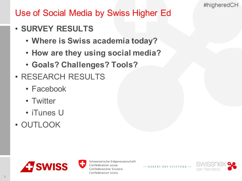 3 #higheredCH Use of Social Media by Swiss Higher Ed SURVEY RESULTS Where is Swiss academia today? How are they using social media? Goals? Challenges?