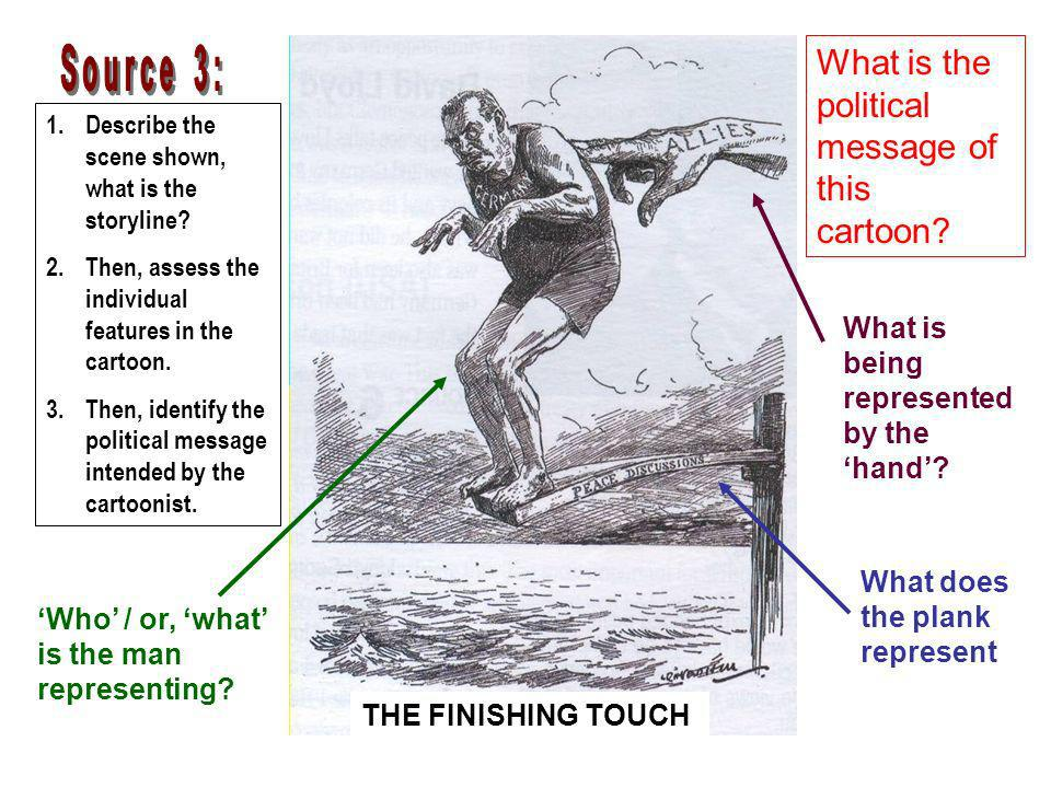 THE FINISHING TOUCH 1.Describe the scene shown, what is the storyline? 2.Then, assess the individual features in the cartoon. 3.Then, identify the pol