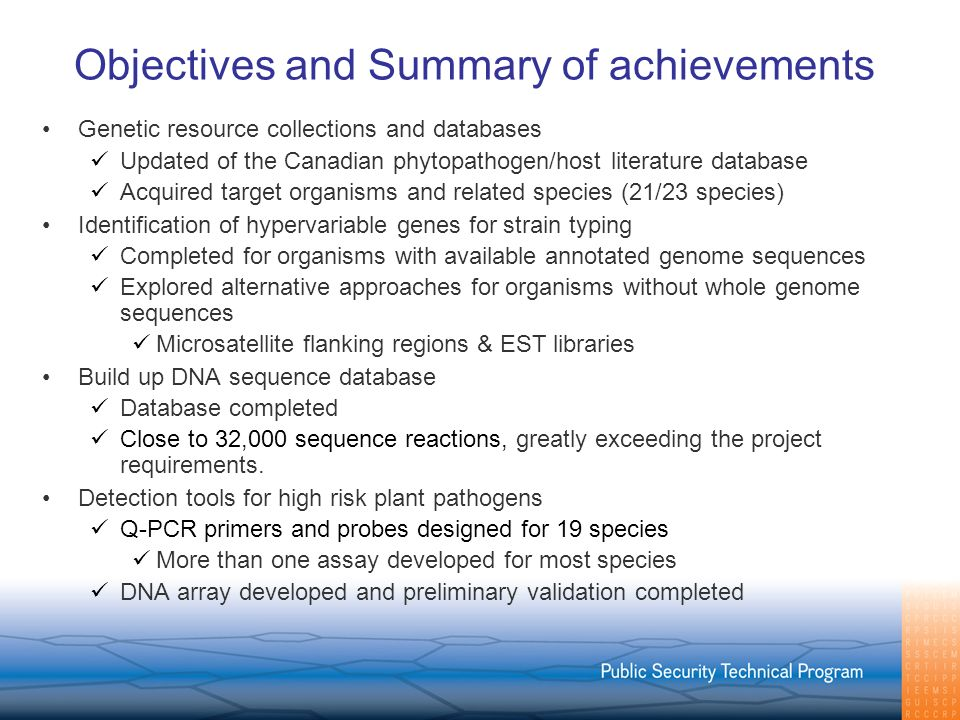 Objectives and Summary of achievements Genetic resource collections and databases Updated of the Canadian phytopathogen/host literature database Acquired target organisms and related species (21/23 species) Identification of hypervariable genes for strain typing Completed for organisms with available annotated genome sequences Explored alternative approaches for organisms without whole genome sequences Microsatellite flanking regions & EST libraries Build up DNA sequence database Database completed Close to 32,000 sequence reactions, greatly exceeding the project requirements.