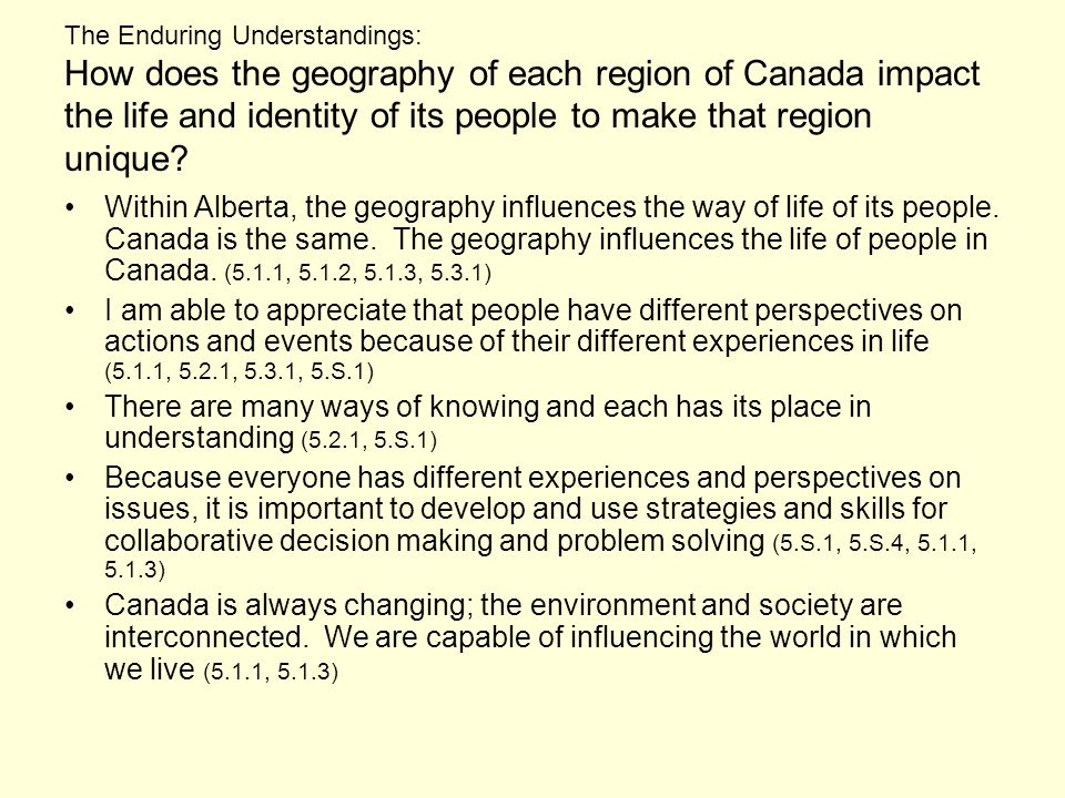The Enduring Understandings: How does the geography of each region of Canada impact the life and identity of its people to make that region unique.