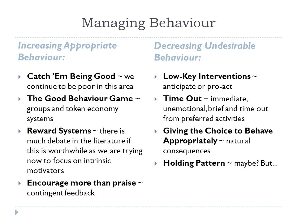 Managing Behaviour Increasing Appropriate Behaviour: Decreasing Undesirable Behaviour: Catch Em Being Good ~ we continue to be poor in this area The Good Behaviour Game ~ groups and token economy systems Reward Systems ~ there is much debate in the literature if this is worthwhile as we are trying now to focus on intrinsic motivators Encourage more than praise ~ contingent feedback Low-Key Interventions ~ anticipate or pro-act Time Out ~ immediate, unemotional, brief and time out from preferred activities Giving the Choice to Behave Appropriately ~ natural consequences Holding Pattern ~ maybe.