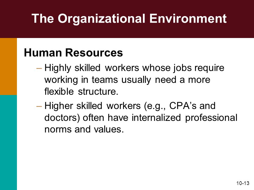 10-13 The Organizational Environment Human Resources –Highly skilled workers whose jobs require working in teams usually need a more flexible structur