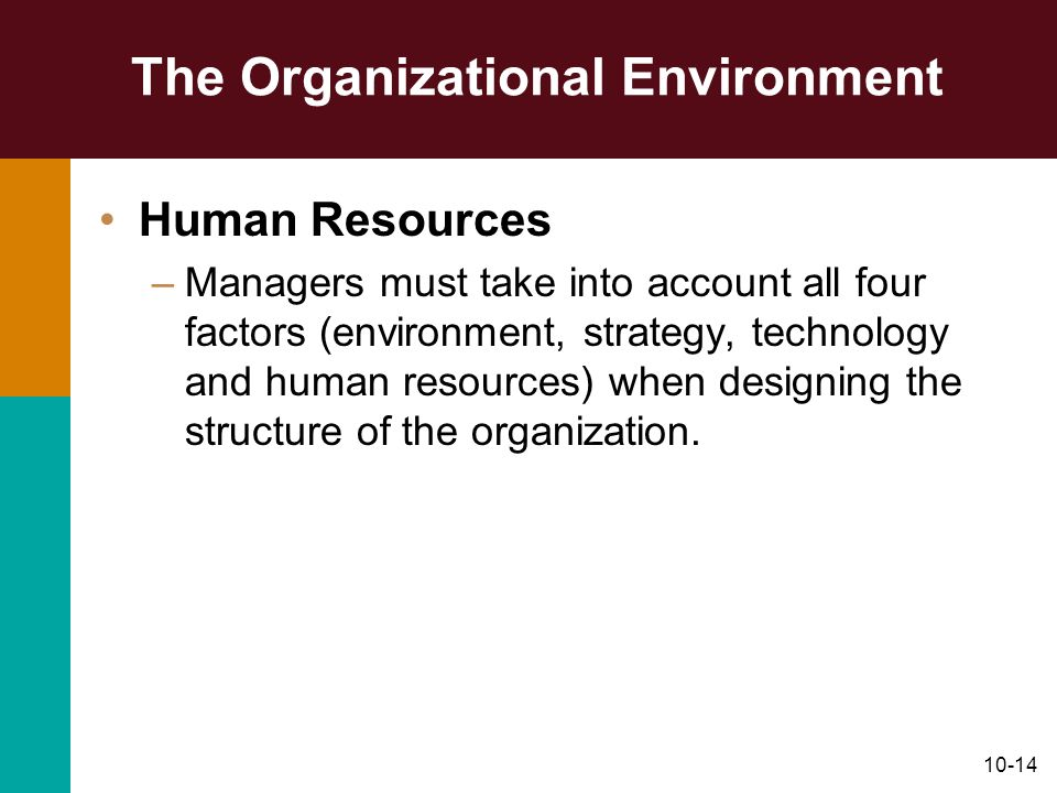 10-14 The Organizational Environment Human Resources –Managers must take into account all four factors (environment, strategy, technology and human re