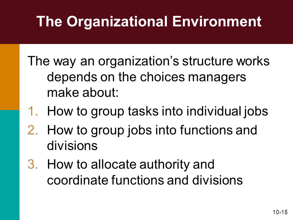 10-15 The Organizational Environment The way an organizations structure works depends on the choices managers make about: 1.How to group tasks into in