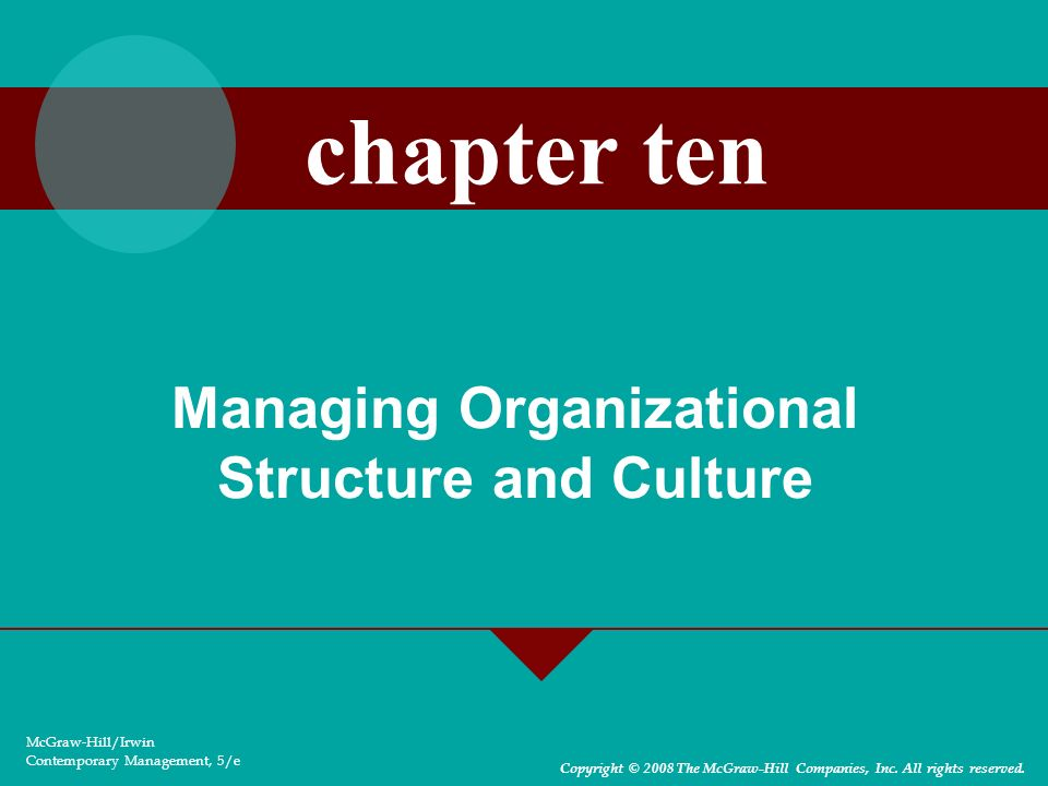 Managing Organizational Structure and Culture McGraw-Hill/Irwin Contemporary Management, 5/e Copyright © 2008 The McGraw-Hill Companies, Inc. All righ
