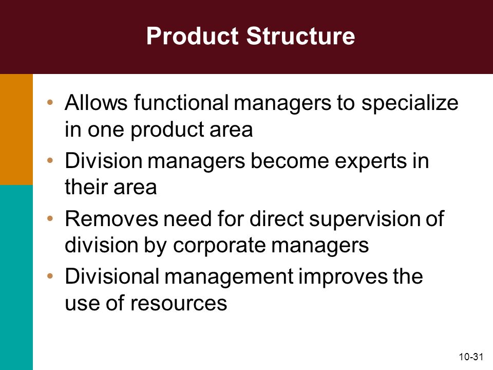 10-31 Product Structure Allows functional managers to specialize in one product area Division managers become experts in their area Removes need for d