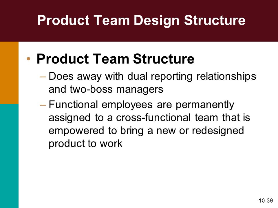 10-39 Product Team Design Structure Product Team Structure –Does away with dual reporting relationships and two-boss managers –Functional employees ar