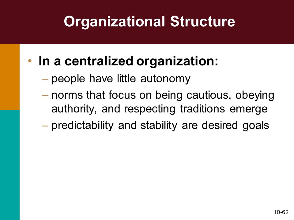 10-62 Organizational Structure In a centralized organization: –people have little autonomy –norms that focus on being cautious, obeying authority, and