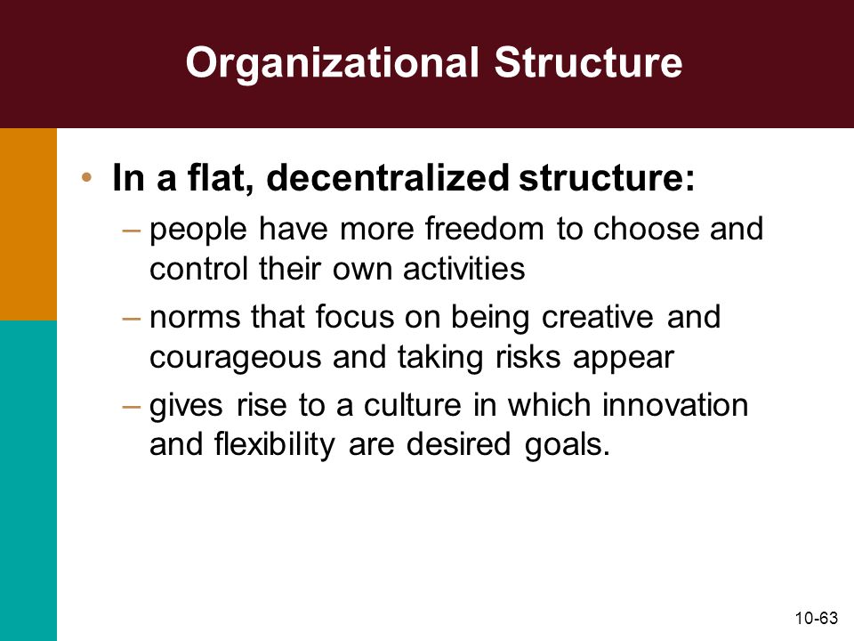 10-63 Organizational Structure In a flat, decentralized structure: –people have more freedom to choose and control their own activities –norms that fo