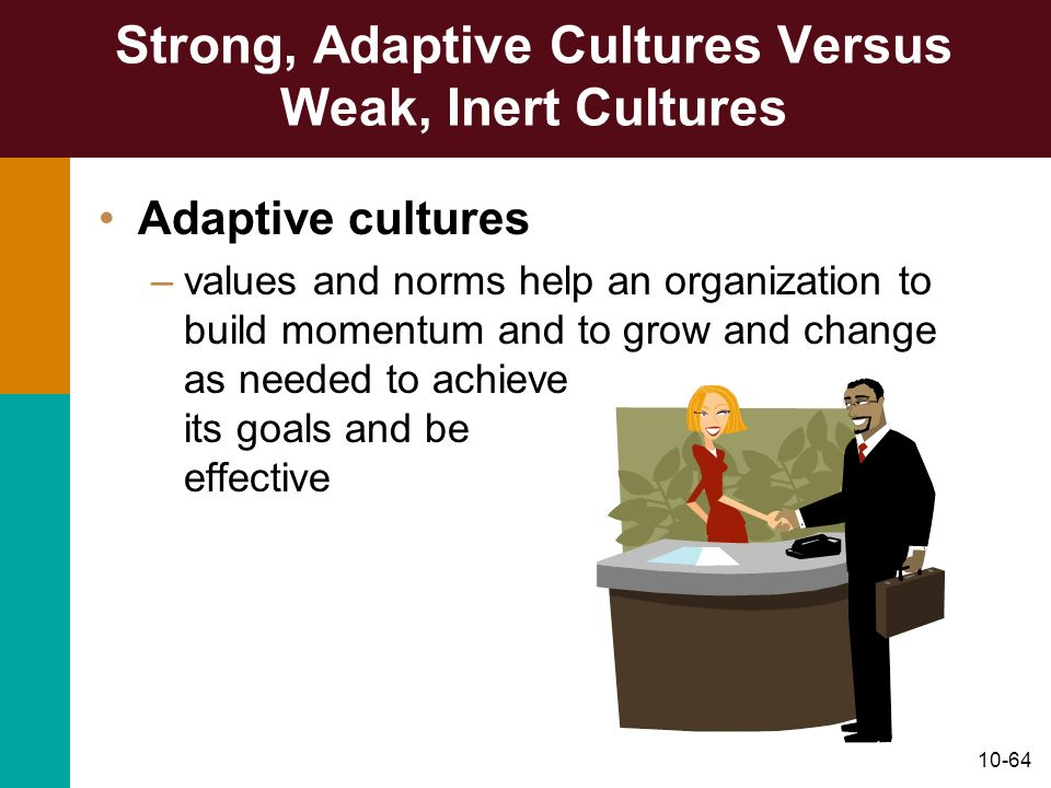 10-64 Strong, Adaptive Cultures Versus Weak, Inert Cultures Adaptive cultures –values and norms help an organization to build momentum and to grow and