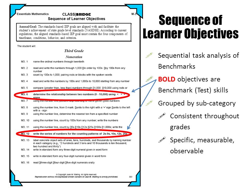 Sequential task analysis of Benchmarks BOLD BOLD objectives are Benchmark (Test) skills Grouped by sub-category Consistent throughout grades Specific,