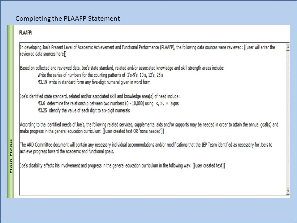 Completing the PLAAFP Statement