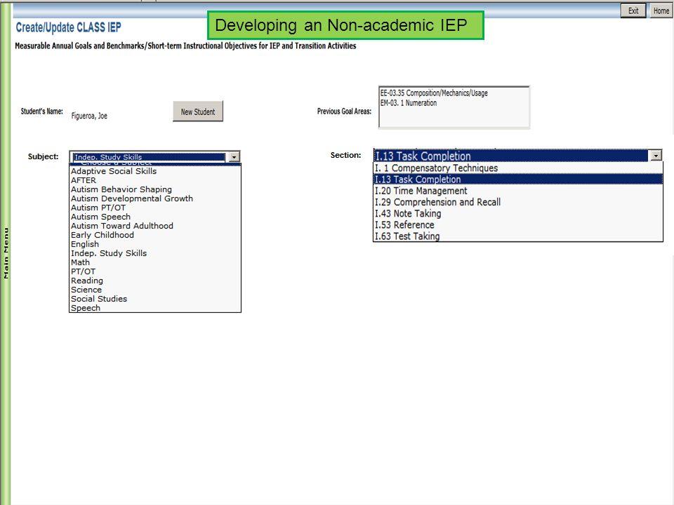Developing an Non-academic IEP