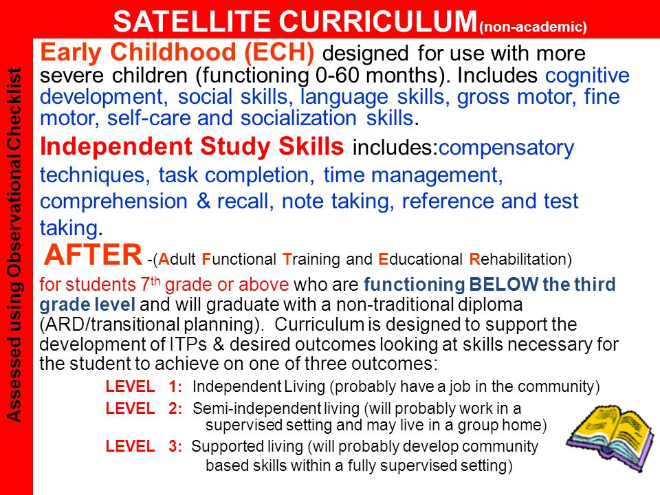 AFTER -(Adult Functional Training and Educational Rehabilitation) for students 7 th grade or above who are functioning BELOW the third grade level and