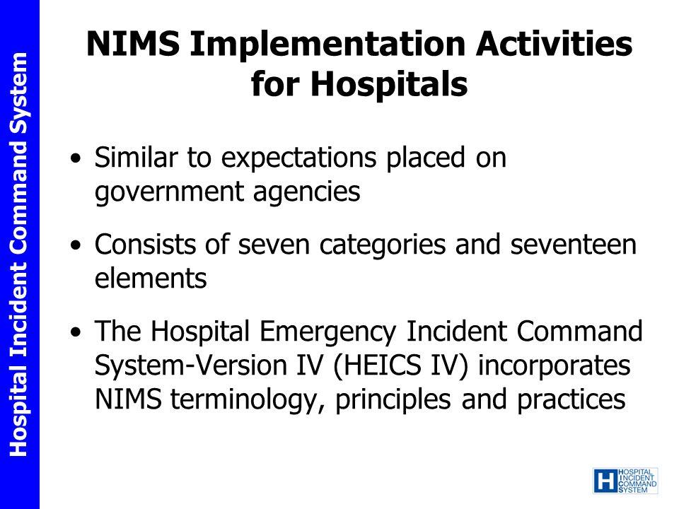 Hospital Incident Command System Category I.