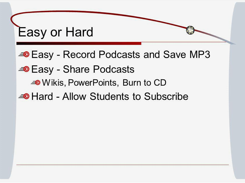 Easy or Hard Easy - Record Podcasts and Save MP3 Easy - Share Podcasts Wikis, PowerPoints, Burn to CD Hard - Allow Students to Subscribe