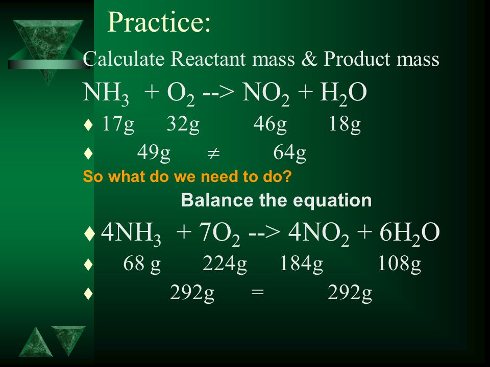 Practice: Calculate Reactant mass & Product mass NH 3 + O 2 --> NO 2 + H 2 O t 17g 32g 46g18g t 49g 64g So what do we need to do? Balance the equation