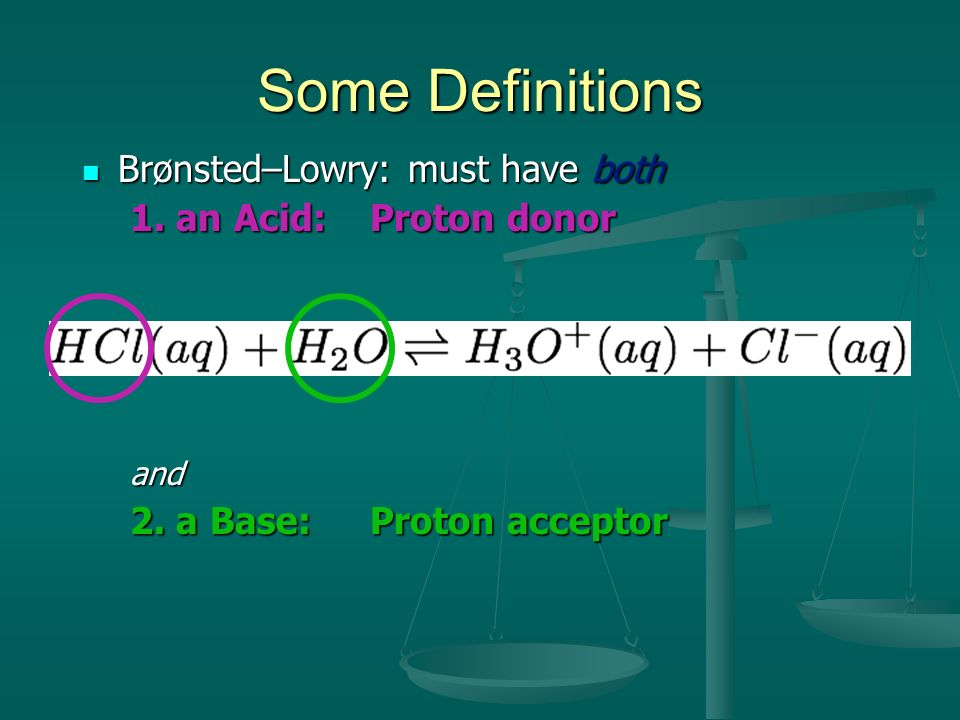 Some Definitions Brønsted–Lowry: must have both Brønsted–Lowry: must have both 1. an Acid:Proton donor and 2. a Base:Proton acceptor