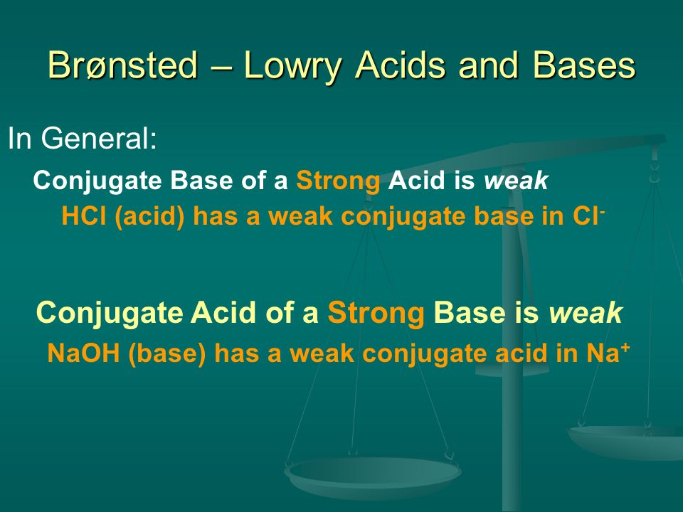 In General: Conjugate Base of a Strong Acid is weak HCl (acid) has a weak conjugate base in Cl - Brønsted – Lowry Acids and Bases Conjugate Acid of a
