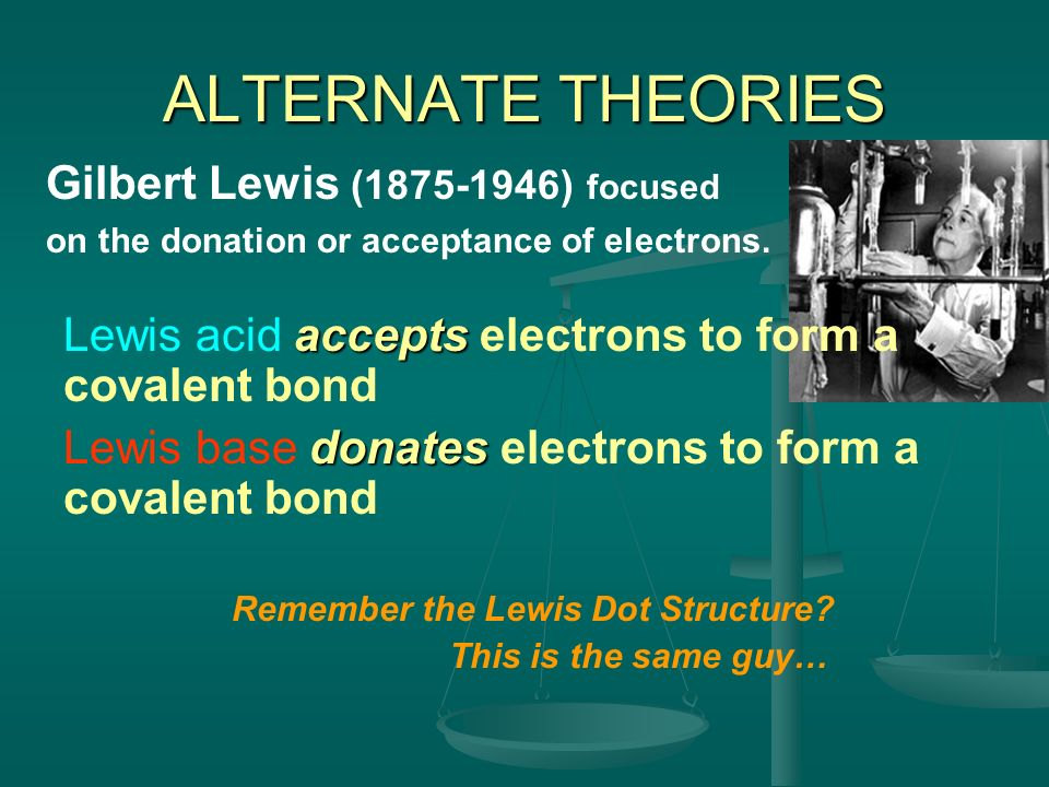 ALTERNATE THEORIES Gilbert Lewis (1875-1946) focused on the donation or acceptance of electrons. Remember the Lewis Dot Structure? This is the same gu